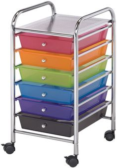 Storage Cart 6 Drawers Multicolor Four Castors Holds Up To 3 Pounds Paper Fabric #CraftOragnizer
