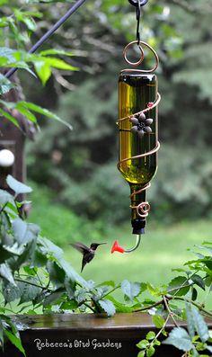 Unique Bird feeder. Hummingbirds. birds. Wine Bottle Hummingbird Feeder The Tavern by RebeccasBirdGardens