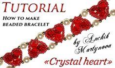 Bracelet en perles de coeur et perles en cristal de cristal / Bracelets, tutoriels vidéo / Biserok.org