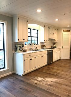 [New] The 10 Best Home Decor Today (with Pictures) - Shiplap ceilings and distressed flooring are the perfect touches for a rustic interior Feat. vinyl plank: SKU 15262454 Click the link in our bio to shop this floor Vinyl Wood Planks, Vinyl Flooring Kitchen, Wood Floor Kitchen, Farmhouse Flooring, Wood Tile Floors, Luxury Vinyl Flooring, Luxury Vinyl Plank, Kitchen Vinyl, Laminate Flooring
