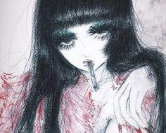 Pretty Art, Cute Art, Aesthetic Art, Aesthetic Anime, Aya Takano, Arte Grunge, Drawn Art, Gothic Anime, Cybergoth
