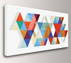 "Mid Century Modern Art - Panorama size up to 3x6 feet - Canvas Print - Colorful Triangles on White  - Vintage Modern Wall Decor  - ""Stagger""..."