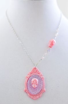 Pink Pearly Skull with Lavender Purple Stone Girly by Goraline, $15.00