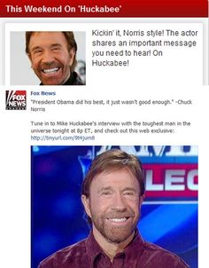 "Chuck Norris isn't just telling people Obama ""wasn't good enough."" His ""important message"" (that Fox is providing plenty of airtime for) is that ""1,000 years of darkness"" await if Obama is re-elected. What's the real problem here? Fox tries to sell itself as the voice of reason, but Fox is deeply entwined with far-right figures like Chuck Norris. Both Fox and Norris consistently use dishonest fear-mongering as a vehicle to push their right-wing agenda. Doesn't sound very reasonable to us."