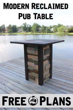Modern Reclaimed Pub Table | Free Plan |  rogueengineer.com #ModernReclaimedPubTable #ManCaveDIYPlans