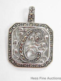 Sterling Silver Initial C Christine Christina Carol Marcasite Enhancer Pendant