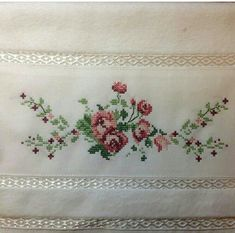 This post was discovered by Sabahat Yılmaz. Discover (and save!) your own Posts on Unirazi. Cross Stitch Borders, Cross Stitch Rose, Cross Stitch Flowers, Cross Stitching, Cross Stitch Patterns, Ribbon Embroidery, Cross Stitch Embroidery, Embroidery Designs, Crochet Stitches