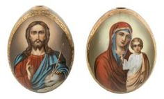 A PAIR OF RUSSIAN PORCELAIN EASTER EGGS FEATURING THE