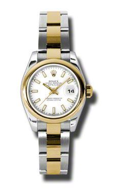 Rolex Datejust White Dial Automatic Stainless Steel and 18kt Yellow Gold Ladies Watch 179163WSO $6,642