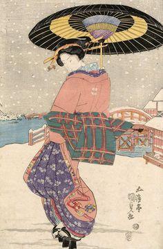 Woman with umbrella in the snow. Ukiyo-e woodblock print. Mid 1823, Japan, by artist Utagawa Kunisada I