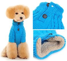 Blue Classic Cable Knit Dog SweaterClassic pullover turtleneck cable knit sweater with functional two-button placket, with faux shearling around inner collar for added warmth!  Perfect for the cold windy days!   Choice of Blue or Red (Sold Separately)Sizes XXS - XL - Teacup, Small & Medium size dogsUsually ships in 5 - 7 business days     SIZE   Neck   Girth   Length      XXS   5 - 7.5 inches  8.5 - 10.5 inches  5 - 7.5 inches     XS   7.5 - 9.5 inches