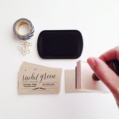 Etsy の Laurel Business Card Stamp by stationeryboutique