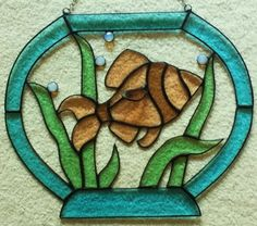 Beveled Stained Glass Fish in a Bowl Panel | glassbydorothy ... artfire.com