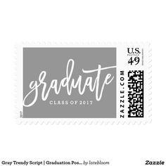 Gray Trendy Script | Graduation Postage
