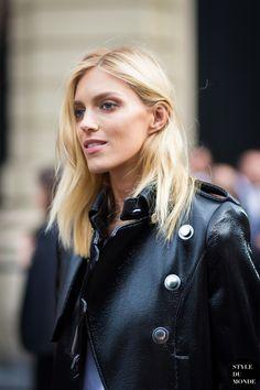 Does she even age? Anja....Love her leather military jacket. Anja Rubik - STYLE DU MONDE | Street Style Street Fashion Photos