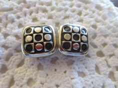 Vintage ZINA Clip On Earrings Sterling Silver Modernist Retro Square Dot Beverly Hills Designer 925 Jewelry by BlancheB on Etsy