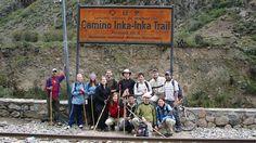 Trekking the Inca Trail - Group posing in front of sign. Kilimanjaro, Machu Picchu, Wonderful Places, Trekking, Peru, Backpacking, Trail, Hiking, Sign