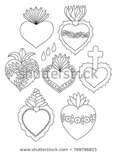 Discover Sacred Heart Set Vector Illustration Doodle stock images HD and millions of other photos, illustrations and vectors Free Stock Photos collection of Shutterstock. They added thousands of new high-quality images every day. Mexican Crafts, Mexican Folk Art, Heart Vector, Heart Template, Crown Template, Flower Template, Heart Doodle, Heart Stencil, Heart Illustration