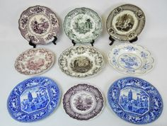 19th C. Assortment of Transfer Ware (9pc) : Lot 0194