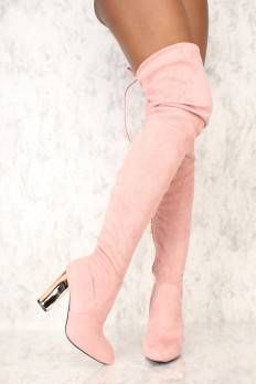 3f1b5a2e8d6 Sexy Dust Pink Pointy Toe Thigh High Boots Metallic Chunky Heel Faux Suede  Over The Knee