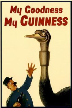 vintage Irish beer advertising art poster for Guinness Beer. It features an ostrich that swallowed a glass of beer.....including the glass!