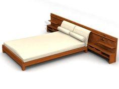 Modern King Platform Bed Frame Built In Side Table And