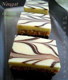White chocolate nougat - cake without cooking Arabic Sweets, Arabic Food, Nougat Cake, Eid Cake, Algerian Recipes, Cake Recipes, Dessert Recipes, Ramadan Recipes, Brownie Bar