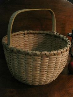 Antique 1800s N.E. Black Ash Woven Splint BASKET Carved Handle AAFA #NaivePrimitive