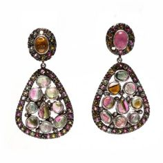Tourmaline Gemstone 925 Sterling Silver Dangle Stud Earrings Mother Day Gift | eBay