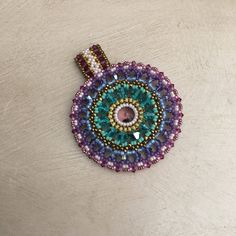 Color Medallion beaded chrystals and beads miyuki by ThReAdTeDs on Etsy