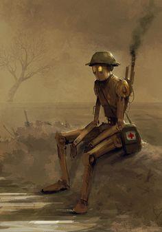 robot medic, Jakub Rozalski on ArtStation at http://www.artstation.com/artwork/robot-medic