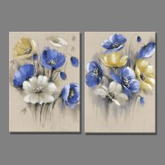 Cheap 2 Piece Linen Blue Yellow Flowers White Flower Oil Painting Canvas Art Paintings for Living Room Decoration Wall Painting, Buy P . Art Floral, Flower Painting Images, Oil Painting Flowers, Flower Paintings, Art Paintings, Acrylic Flowers, Acrylic Art, 3 Piece Canvas Art, Painting Canvas