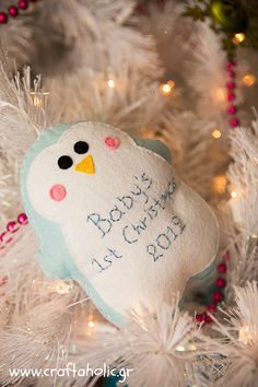NAME PERSONALIZED ORNAMENT Blue Baby Boy Penguin Diaper Baby/'s First Christmas