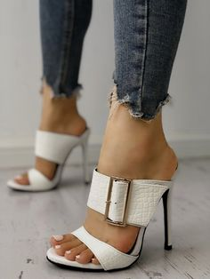 4c7da647c4b Shop Solid Snakeskin Buckled Thin Heeled Sandals – Discover sexy women  fashion at IVRose