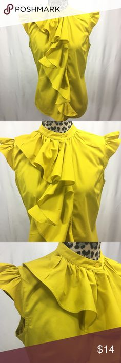 """Worthington Ruffle Top Worthington Ruffle Top; 65% Cotton, 30% Polyester,  5% Spandex;  26"""" Length, 40"""" Bust; Mustard Yellow Color Worthington Tops"""