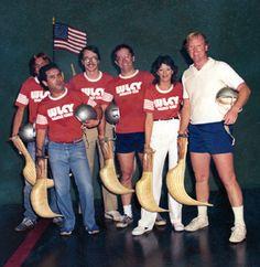 WLCY Night at Tampa Jai Alai ~ May 1981 • From L-R: Dave Hayes, Tedd Webb, Jim Shaffer, Mike Webber, Diane Bonilla, & John O'Neil