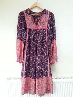 70s Vintage Indian cotton gauze Hippy Boho festival kaftan dress s m 10 12 6 8 4   £122.00 (45B)