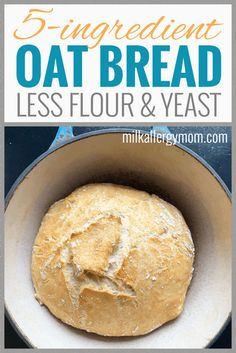 No milk or egg basic bread recipe your family will love! Artisan and restaurant style but so easy to make. 2 cups flour 1 cup oats salt minimal yeast and water. Also no knead! Dairy-free egg-free soy-free dutch oven bread recipe at Milk Allergy Mom. Easiest Bread Recipe No Yeast, Basic Bread Recipe, Milk Bread Recipe, Knead Bread Recipe, No Knead Bread, Dutch Oven Bread, Bread Oven, Easy Bread, Egg And Bread Recipes