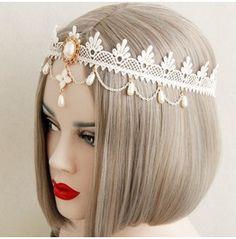 Handcraft White Lace Peal Sweet Lolitta Handdress Fd 15