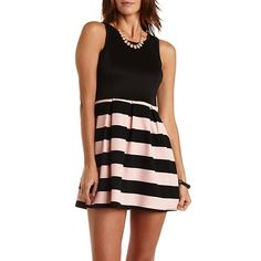 Striped & Pleated Skater Dress: Charlotte Russe