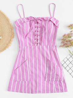 Shop Eyelet Lace Up Striped Cami Dress at ROMWE, discover more fashion styles online. Dresses For Teens, Cute Dresses, Casual Dresses, Short Dresses, Girls Dresses, Girls Fashion Clothes, Teen Fashion, Fashion Outfits, Fashion Styles