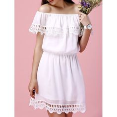Off The Shoulder Flounce Crochet Trim Ladylike Women's Chiffon Dress #shoes, #jewelry, #women, #men, #hats, #watches