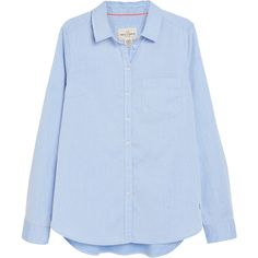 Cotton Shirt ❤ liked on Polyvore featuring tops, woven cotton shirt, shirt top, blue cotton shirt, blue top and cotton shirts