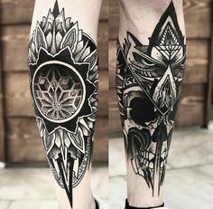 Awesome tattoos on the shins