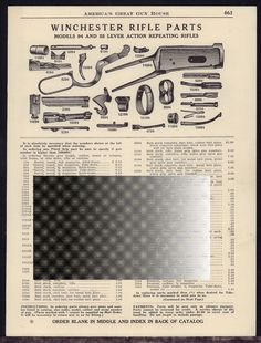 1941 WINCHESTER Model 94 & 55 Lever Action Repeating Rifle Parts List AD #Beretta