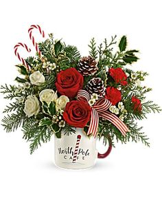Christmas Flowers Delivery Louisa KY - Farmhouse Memories Christmas Flower Arrangements, Christmas Flowers, Beautiful Flower Arrangements, Floral Arrangements, White Spray Roses, Red And White Roses, Send Flowers Online, Flowers Today, Teleflora Flowers