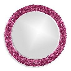 image of Howard Elliot Glossy Rosalie Wall Mirror in Hot Pink