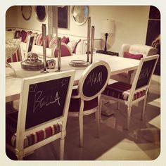 .@tobifairley | Chalkboard Chair Backs...genius! #bernhardt #hpmkt | Webstagram - the best Instagram viewer