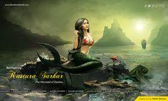 Digital Art - Kastura Sarkar The Mermaid, Blacklisted Studio Blacklist Studio, Mythical Sea Creatures, Disney Drawings, Art Journals, Mona Lisa, Digital Art, Behance, Photoshop, Nature