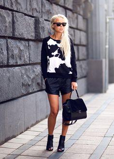 Shoes -Mango, Bag – Lindex, Sweater -H, Shorts – Issue 1.3(on sale) [source:Victoria Törnegren]